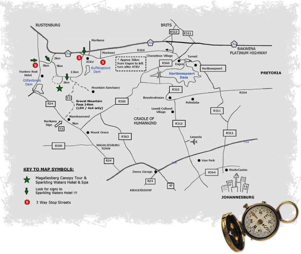 Map And Directions To Magaliesberg Canopy Tours
