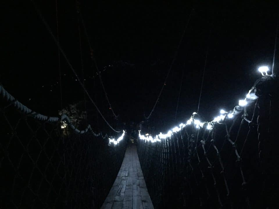 Rope Bridge With Fairy Light Decorations