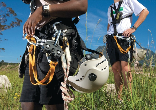 Canopy Tour Guides With All Necessary Safety And Harnessing Equipment