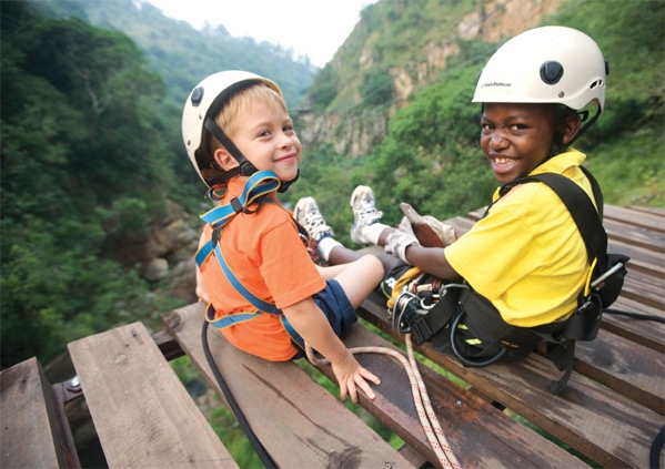Two Little Boys Sitting On A Canopy Tours Platform Ready To Zipline